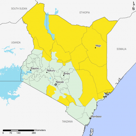 Kenya's pastoral areas are projected to remain in Stressed (IPC Phase 2), as well as parts of Makueni and Lamu counties. The rest of the country is in Minimal (IPC Phase 1).
