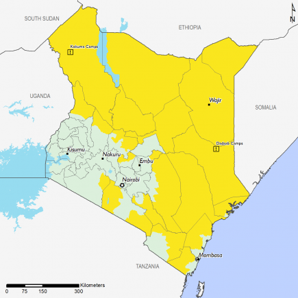 Map of Current food security outcomes, April 2019: Most of the country is in Stressed (IPC Phase 2) except for parts of Kisumu, Nakuru, Embu, Nairobi, and Mombasa that are in Minimal (IPC Phase 1)