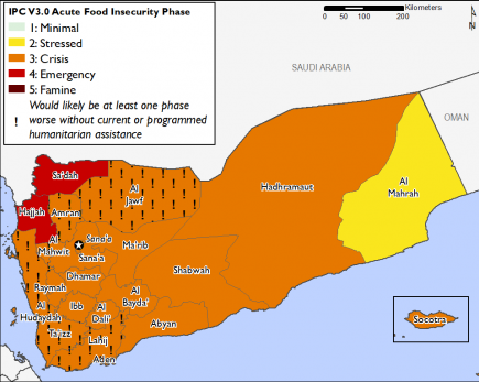 Projected food security outcomes, June 2019 to September 2019  This map shows most of the country in Phase 3 Crisis, with the exception of Sa'dah and Hajjah in Phase 4 Emergency and Al Maharah in Phase 2 Stressed. Many western governorates are in Phase 3