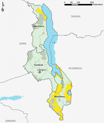 Projected food security outcomes, August to September 2019  This map shows most of the country in Phase 1 Minimal, with the exception of some southern areas and one northern area in Phase 2 Stressed.