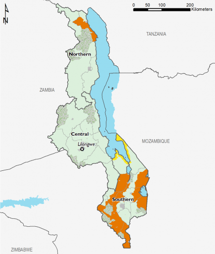 Projected food security outcomes, August to September 2019  This map shows most of the country in Phase 1 Minimal, with the exception of some southern areas and one northern area in Phase 3 Crisis.