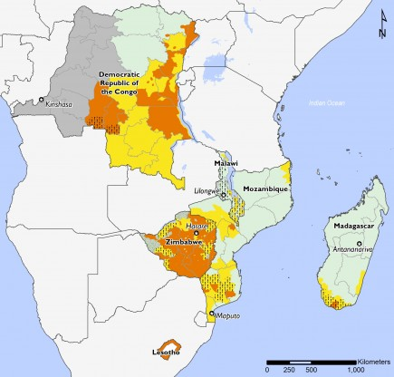Southern Africa March to May 2019 food security projection.