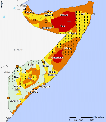 The map shows expected food security outcomes across Somalia according to the IPC Acute Food Insecurity Phase Classification Scale between April and May. Wide areas of northern and central Somalia will be in Stressed (IPC Phase 2!) or Crisis (IPC Phase 3!