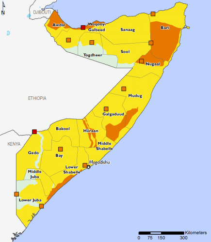 Somalia September 2016 Food Security Projections for October to January