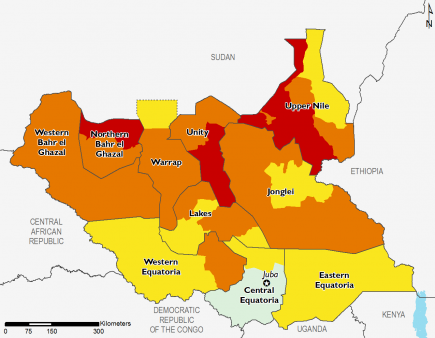 South Sudan April 2016 Food Security Projections for June to September