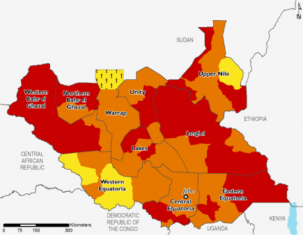 South Sudan phases 4, 3, and 2
