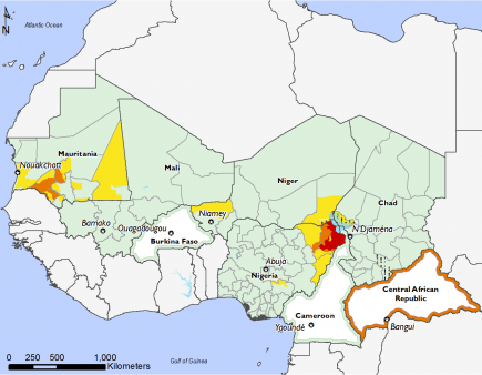 IPC Phase 4 in northeast Nigeria, Phase 3 in CAR, Northeast Nigeria, and parts of Mauritania, Phase 2 in Mauritania, southwestern Niger and parts of northeast Nigeria