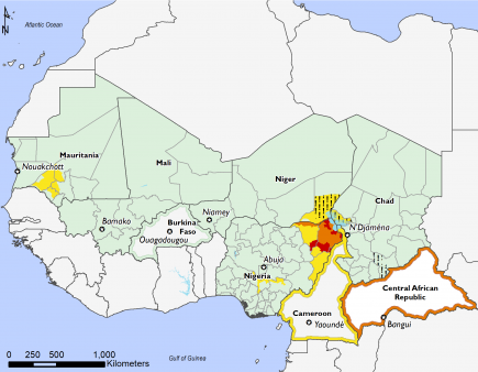 Map of current food security outcomes, West Africa, January 2018