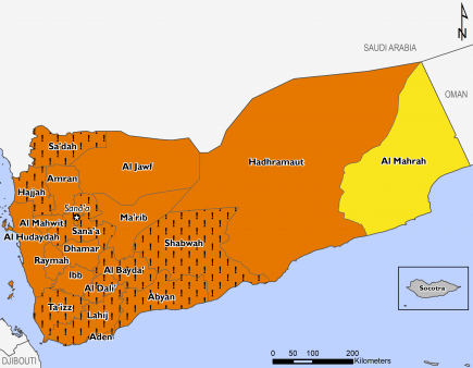 This is a map of projected food security outcomes in Yemen, for April to May 2018. Large area of the country are facing Crisis (IPC Phase 3) outcomes, and acute food insecurity would be at least one IPC Phase worse in many areas in the absence of planned,