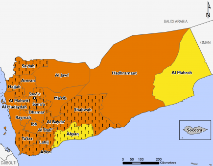 This is a map of projected food security outcomes in Yemen, for July to September 2018. Large areas of the country are expected to face Crisis (IPC Phase 3) outcomes, and acute food insecurity would be at least one IPC Phase worse in many areas in the abs